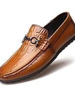 Hombre Zapatos Cuero de Cerdo Otoño Invierno Confort Zapatos de taco bajo y Slip-On Hebilla Para Casual Fiesta y Noche Negro Marrón