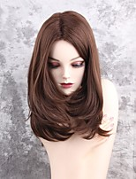 Women Synthetic Wig Capless Medium Length Natural Wave Brown Middle Part Natural Wigs Costume Wig