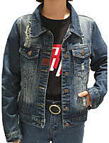 Women's Going out Simple Fall Denim Jacket,Solid Stand ¾ Sleeve Regular Cotton