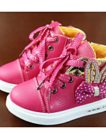 Girls' Shoes Patent Leather Fall Winter Fluff Lining Bootie Boots For Casual Blushing Pink Red Fuchsia