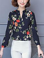 Camicia Da donna Ufficio Casual Sensuale Moda città Sofisticato Primavera Autunno,Fantasia geometrica A V Altro Manica lunga Medio