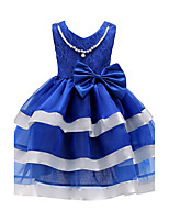 Girl's Birthday Going out Striped Dress,Cotton Polyester Summer Sleeveless Bow Blue Fuchsia