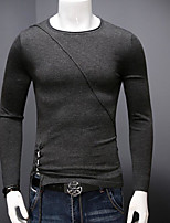 Men's Casual/Daily Simple Regular Pullover,Solid Round Neck Long Sleeves Acrylic Fall Medium Micro-elastic