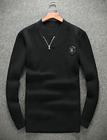 Men's Going out Casual/Daily Short Pullover,Solid V Neck Long Sleeves Wool Others Fall Winter Medium Micro-elastic