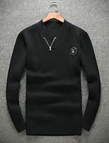 Для мужчин На выход На каждый день Короткий Пуловер Однотонный,V-образный вырез Длинный рукав Шерсть Другое Осень Зима Средняя