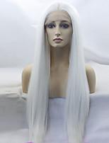 Недорогие -Парики из искусственных волос Жен. Прямой Белый Искусственные волосы Прямой пробор Белый Парик Длинные Лента спереди Белый