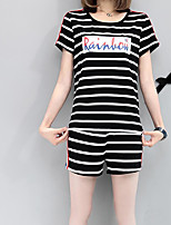 Women's Casual/Daily Simple Summer T-shirt Pant Suits,Striped Round Neck Short Sleeve Micro-elastic