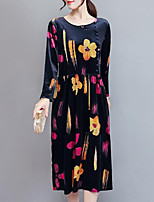 Women's Going out Plus Size Casual Loose Dress,Floral Round Neck Midi Long Sleeves Velvet Fall Mid Rise Inelastic Medium