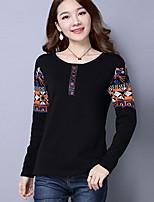 Women's Daily Plus Size Winter Fall T-shirt,Print Round Neck Long Sleeves Cotton Rayon Medium