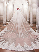 One-tier Wedding Veil Cathedral Veils With Applique Bead Lace Tulle