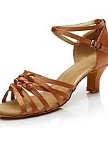 Для женщин Латина Синтетика На каблуках Для закрытой площадки Каблуки на заказ Темно-коричневый Телесный Персонализируемая