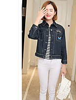 Women's Going out Simple Fall Denim Jacket,Solid Letter Stand ¾ Sleeve Short Cotton