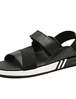 Herren Schuhe Leder Sommer Komfort Sandalen Für Normal Schwarz