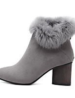 Women's Shoes Flocking Winter Comfort Boots Chunky Heel Pointed Toe Booties/Ankle Boots For Casual Gray Black