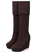 Da donna Scarpe Pelle nubuck PU (Poliuretano) Inverno Stivali stivali slouch Stivaletti Piatto Stivali alti Per Casual Nero Marrone