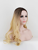 Women Synthetic Wig Capless Long Natural Wave Black/Gold Middle Part Natural Wigs Costume Wig