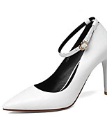 Women's Shoes Cowhide Nappa Leather Spring Fall Basic Pump Heels For Casual Black White
