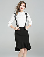 Women's Daily Work Casual Fall Blouse Skirt Suits,Solid Round Neck ¾ Sleeve Polyester Inelastic