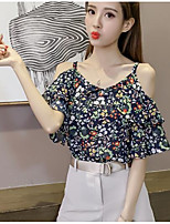 Women's Casual/Daily Simple Blouse,Solid Print Round Neck Short Sleeves Polyester