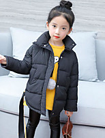 Girls' Solid Down & Cotton Padded,Rabbit Fur Faux Fur Cotton Fall Winter Long Sleeve