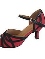 Women's Latin Faux Suede Sandal Indoor Customized Heel Black/Red