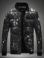 Herren Gefüttert Mantel Einfach Ausgehen Lässig/Alltäglich Solide Druck-Polyester Andere Polypropylen Langarm