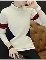 Men's Sports Going out Simple Active Regular Pullover,Color Block Round Neck Long Sleeves Rayon Spring Fall Medium Micro-elastic