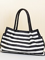 Women Bags All Seasons Cowhide Tote with Tiered for Event/Party Casual Black/White