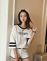 Women's Going out Street chic Summer T-shirt Pant Suits,Solid Striped Round Neck Long Sleeve Backless Cotton Micro-elastic