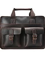 Men Bags All Seasons Cowhide Briefcase Zipper for Casual Office & Career Dark Brown