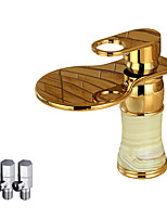 Contemporary Deck Mounted Waterfall with  Ceramic Valve Single Handle One Hole for  Ti-PVD , Bathroom Sink Faucet