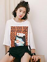 T-shirt Da donna Per uscire Semplice Tinta unita Con stampe Rotonda Cotone Mezza manica