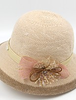 Women's Straw Straw Hat,Hat Boho Patchwork Summer Floral Lace Bow Embroidered