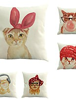 5 pcs Cotton/Linen Pillow Case Pillow Cover,Animals Classic Novelty Classical Traditional/Classic European Style Neoclassical Retro