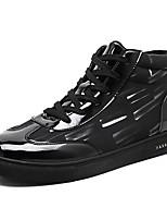 Для мужчин обувь Полиуретан Весна Осень Удобная обувь Кеды Шнуровка Назначение Повседневные Черно-белый Черный/Красный Черный / синий