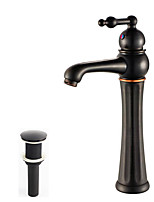 Traditional/Vintage Vessel Widespread with  Ceramic Valve One Hole for  Oil-rubbed Bronze , Bathroom Sink Faucet