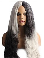 Women Synthetic Wig Capless Long Wavy Natural Wave Deep Wave Black/White Middle Part Party Wig Halloween Wig Cosplay Wig Costume Wig