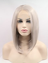 Women Synthetic Wig Lace Front Short Straight Silver Natural Hairline Natural Wigs Costume Wig