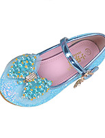 Girls' Shoes Sparkling Glitter Spring Fall Comfort Novelty Flats Bowknot Pearl Buckle For Wedding Dress Blushing Pink Blue Purple