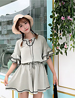 Women's Casual/Daily Simple Summer Blouse Skirt Suits,Striped Round Neck Half Sleeves Chiffon Micro-elastic