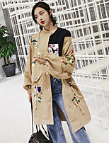 Women's Going out Simple Fall Trench Coat,Print Stand Long Sleeve Long Cotton