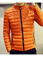 Men's Padded Coat,Simple Casual/Daily Solid-Others Cotton Long Sleeves