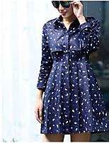 Impermeabile Da donna Per uscire Ufficio Semplice Autunno,Tinta unita Con stampe Colletto alla coreana Cotone Lungo Manica lunga