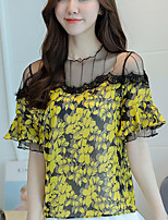 Women's Going out Cute Blouse,Floral Round Neck Short Sleeves Cotton Acrylic