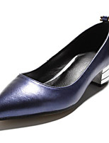 Women's Shoes Paillette Real Leather Spring Fall Basic Pump Ballerina Heels Flat Heel For Casual Blue Red Silver