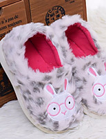 Women's Shoes Suede Fall Winter Comfort Slippers & Flip-Flops Flat Heel Round Toe For Casual Leopard Purple