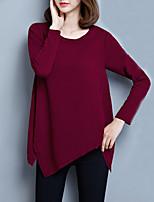 Tee-shirt Femme,Couleur Pleine Sports Décontracté / Quotidien simple Actif Printemps Automne Manches Longues Col Arrondi Polyester Moyen