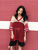 Women's Holiday Casual Street chic Summer T-shirt,Solid Striped V Neck 3/4 Length Sleeves Others Translucent
