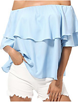 Women's Going out Casual/Daily Street chic Summer Blouse,Solid Boat Neck Half Sleeves Cotton Medium