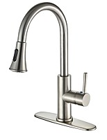 Contemporary Variety Centerset Pullout Spray Pull out Classic Ceramic Valve Nickel Brushed , Kitchen faucet